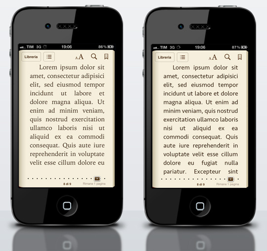 iPhone iBooks nuove font
