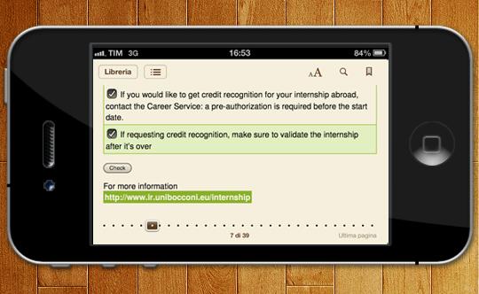 Esempio su iPhone: checklist selezionabili