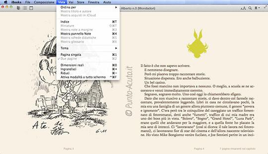 Modalità doppia pagina su iBooks 1.0 per Mac