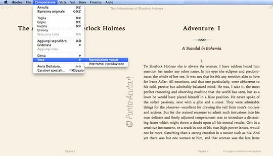 Accessibilità, riproduzione vocale su iBooks 1.0 per Mac